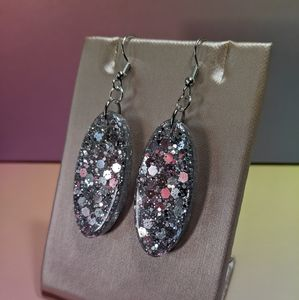 Silver Glitter Resin Dangle Earrings